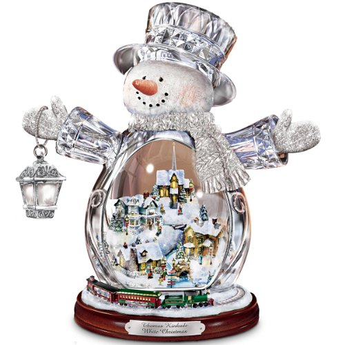 thomas kinkade crystal snowman figurine featuring light up village and animated train by the bradford editions amazon price 9999 buy now