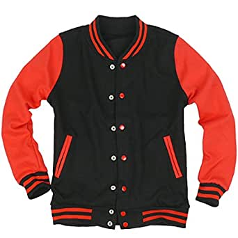 ililily Slim-fit Varsity Jacket American Baseball Club College School Jacket Double-layer Cotton Snap-close Team Jacket with Stretchy two-tone ribbing trims (jackets-003-4-L)