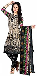 Fashionx Black cotton printed unstitched dress material