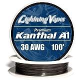 Genuine Lightning Vapes Kanthal 30 Gauge AWG A1 Wire 100ft Roll .254mm 8.36 Ohms/ft Resistance
