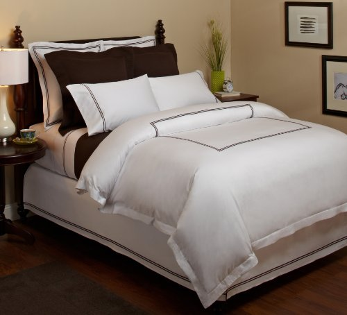 Purchase Pinzon Hotel Stitch 400-Thread-Count 100-Percent Egyptian Cotton Sateen Duvet Cover, Full/Q...
