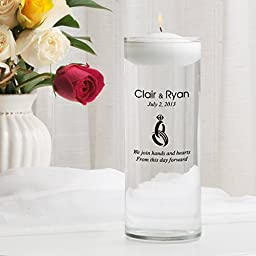 Personalized Floating Wedding Unity Candle- Heart and Hands