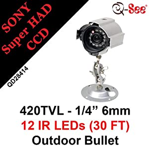Q-see QD28414 Outdoor Night Vision Camera - Color - CCD - Cable