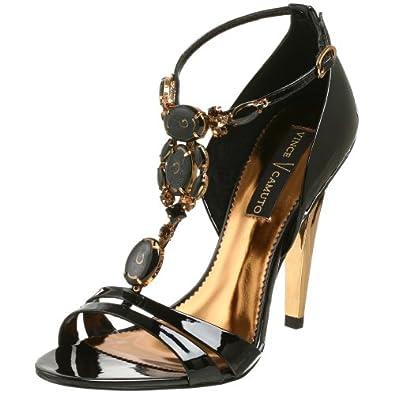 Vince Camuto Women's Nora T-Strap Sandal,Black,5 M US