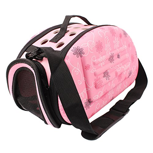 Chinatera Portable EVA Pet Dog Carrier Cat Dog Puppy Small Animals Airline Travel Tote Shoulder Bag Cage (S, Pink)