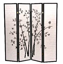 4 Panel Black Bamboo Print Oriental Shoji Screen / Room Divider