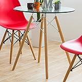 イームズスタイル 「イームズダイニングテーブル」【クリアガラス天板】 【テーブル単品】 天板丸テーブル 木脚テーブル お洒落なバーテーブル カウンターテーブル デザイナーズ風 オリジナルテーブル