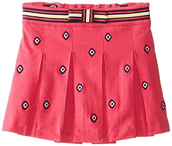 Hartstrings Little Girls' Knit Ponte Pleated Embroidered Skort, Pink, 2T