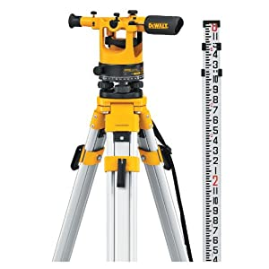DEWALT DW092PK 20X Transit Level Package with Tripod, Rod, and Carrying Case