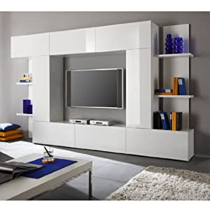 wohnwand medienwand in weiss hochglanz k che haushalt. Black Bedroom Furniture Sets. Home Design Ideas
