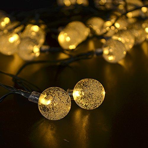 CrazyFire 20球 4.8m ソーラーLED飾り 省エネ 防水 夜間自動点灯 LEDクリスマス 光センサー内蔵 イルミネーションライト お庭/ベランダ/玄関/お店周り/広場/屋外/結婚式/クリスマス/パーティー(気泡, イエロー)