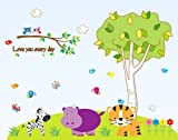 Lovely zoo nursery wall decal-zebra, hippo, tiger