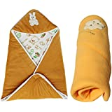 My NewBorn Combo Of Shearing Velvet & Fleece Hooded-Set Of 2 Baby Blankets (Camel)