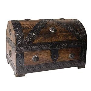 Cofre del tesoro 24x15,5x16cm marrón mirada de la antigüedad de madera