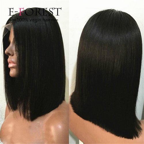 E-forest-hair-Virgin-100-Malaysian-Remy-Human-Hair-Lace-Front-Bob-Wig-Silky-Straight-Middle-Part-130-Density8-inch-Natural-Color-RSZ-267