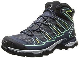 Salomon Women\'s X Ultra Mid 2 GTX Hiking Shoe, Grey Denim/Deep Blue/Lucite Green, 9 M US