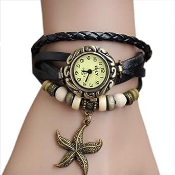 Zeagoo Women's Quartz Starfish Weave Wrap Synthetic Leather Bracelet Wrist Watch Black