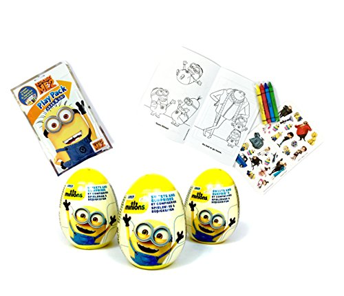 3 Minions Plastic Surprise Eggs and 1 Grab &