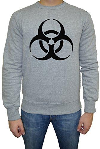 Biohazard Tossico Logo Uomo Felpa Maglione Pullover Grigio Tutti Dimensioni | Men's Sweatshirt Jumper Pullover Grey
