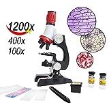 YBB 子供顕微鏡初心者顕微鏡で、LED付き、100X、400X、1200Xの拡大倍数、付属品セットと赤い箱を含みます-赤