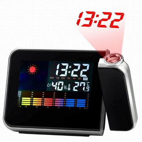 Ikkegol Digital Time Projector Led Weather Temperature Humidity Wall Projection Alarm Snooze Clock Calendar