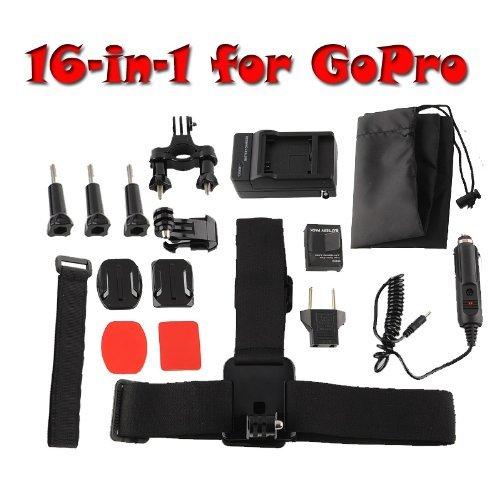 amzdeal® 16in1 Action Cam Zubehör Set Kopfband + Lenkerhalter + Auto Ladegerät + Akku + Ladestation + Schrauben + Klebepads für GoPro Hero 1/2/3/3+