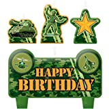 """Amscan Charming Camouflage Themed Character Themed Candle Set, Green/Dark Green/Gold, 2.25"""" x 3.25"""""""