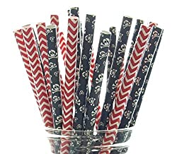 Halloween Party Straws, Skull & Crossbones Skeleton Straws (50 Pack) - Black & Red Pirate Birthday Party Supplies & Table Decorations, Halloween Paper Straws