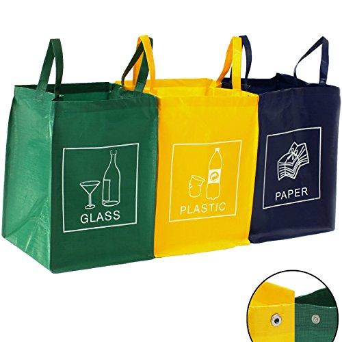3er Set Recycling Müll Sortiertaschen Mülltrennsystem...