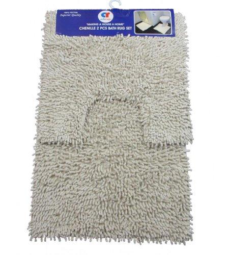 Cream Shaggy Bath 100% Cotton 2 Pcs Bath & Pedestal Bathmat Set Chenille Shaggy Rug Bathroom Bath Mat Set by Quality Linen and Towels