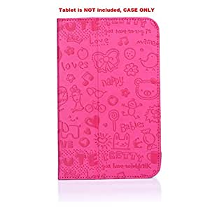 i-UniK Vivitar XO 7-inch Kids Tablet XO-780 & Sakar International Camelio CAM740 Family Tablet PU Leather Protection Case (Pink)