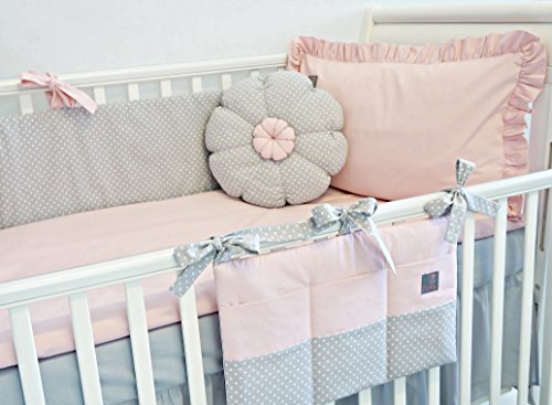 NEW-EXCLUSIVE-LUXURY-BABY-GIRL-BEDDING-SET-POWDER-PINK-GREY-POLKA-DOT-DUVET-PILLOW-DUVET-COVER-PILLOWCASE-BUMPER-COT-TIDY-DECORATIVE-CUSHION-IN-THE-SHAPE-OF-FLOWER-to-FIT-COT-OR-COT-BED-please-see-dim