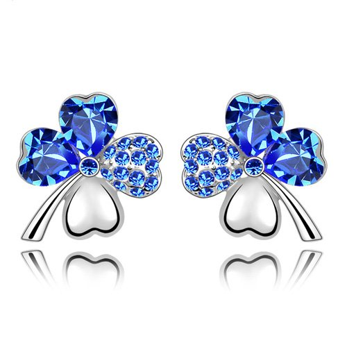 Swarovski Elements Blue Crystal Four Leaf Clover Love Heart Silver Plated Earring