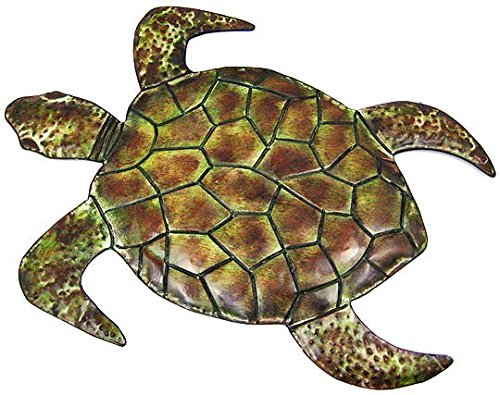 23 Inch Metal Sea Turtle Wall Sculpture Nautical Ocean