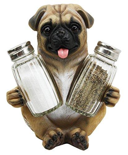 Adorable Hugging Pug Dog Decorative Glass Salt Pepper Shakers Holder Resin Figurine