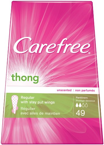 Carefree Thong Pantiliners-Unscented-49 ct