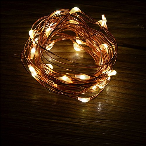 Eastchina® Warm White Battery Operated 10Ft (3M) 30 Leds Fairy Led Wire String Lights For Xmas Holidays Party Decoration
