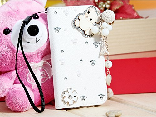 Mylife (Tm) Snow White Bear Design - Textured Koskin Faux Leather (Card And Id Holder + Magnetic Detachable Closing) Slim Wallet For Iphone 5/5S (5G) 5Th Generation Itouch Smartphone By Apple (External Rugged Synthetic Leather With Magnetic Clip + Interna