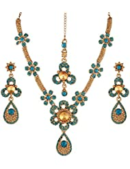 Variation Blue & Gold Fashion Necklace Set For Women (VD15907)