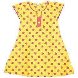 Rush Me Baby Girls' Dress (S.R.1015_7 Years, 7 Years, Gold)