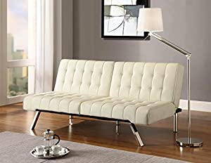 DHP Emily Futon Sofa Bed, Modern Convertible Couch With Chrome Legs Quickly Converts into a Bed, Rich Vanilla White Faux Leather by Ameriwood Industries Inc
