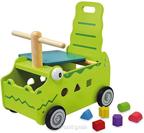 Primi Passi Carrellino Cavalcabile in Legno COCCODRILLO cm 35x27x44 per bambini. Età 12 Mesi. I'm Toy.