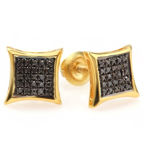 0.10 Carat (ctw) 18K Yellow Gold Plated Sterling Silver Black Round Diamond Micro Pave Setting Kite Shape Stud Earrings