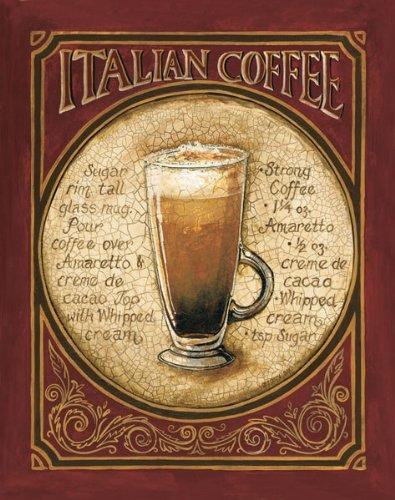 Italian Coffee Recipe Drink Beautiful Sign Alcohol Bar Old Fashioned Classy Dorm Decor 16X20