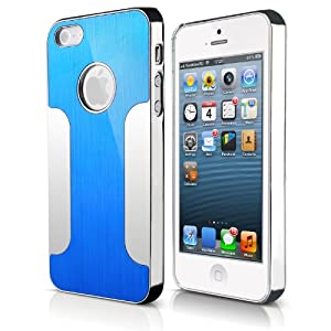 JETech® Premium Chrome Aluminum Skin Hard Back Case Cover for Apple iPhone 5 5G 5S (Blue/Silver)