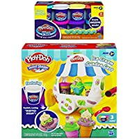 Play-Doh Sweet Shoppe Ice Cream Sundae Cart Playset And Play-Doh Plus Color Set, NET WT 8OZ, 8-Pack (Bundle)