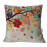 HOSL Cotton Linen Square Decorative Throw Pillow Case Cushion Cover Owls with Birdcage 18
