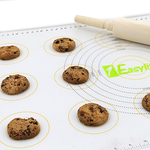 "1Easylife - Dual-use Silicone Pastry and Baking Mat with Measurement (Pack of 2 Half Sheet (16.5"" by 11""))"