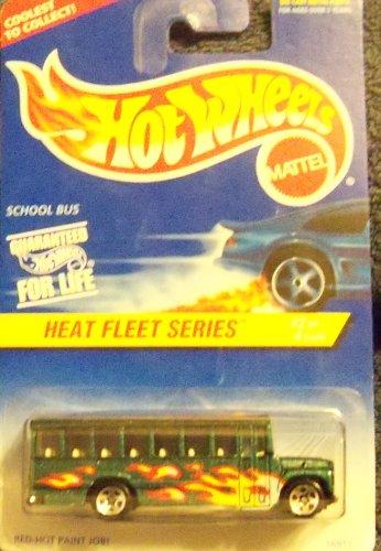 Hot Wheels Heat Fleet Series GREEN School Bus 5-Spoke 1:64 Scale - 1