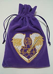 Archangel Angel Michael Embroidered Purple Luxury Velvet Drawstring Tarot / Oracle Card Bag